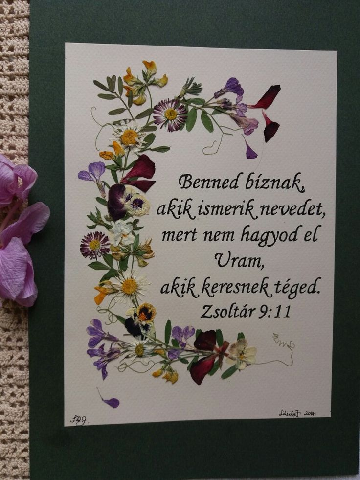 Picture with pressed Wildflowers and Bible verse in Hungarian language