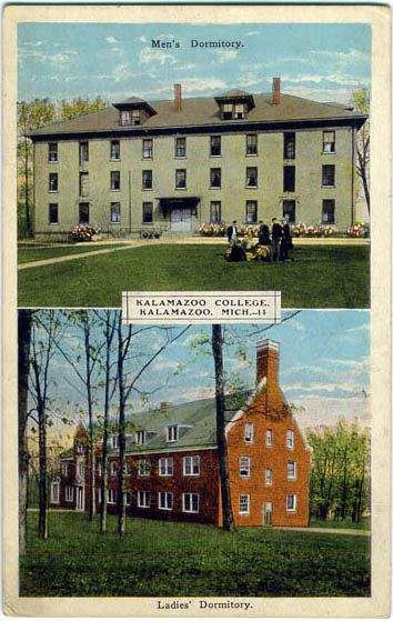 Kalamazoo College, Kalamazoo, MI; founded in 1833; image source: http://www.usgwarchives.net/mi/kalamazoo/postcards/dorms.jpg