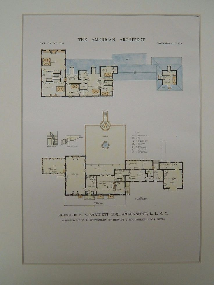 House of E. E. Bartlett, Amagansett, Long Island, NY, 1918, Original Plan. W.L. Bottomley.