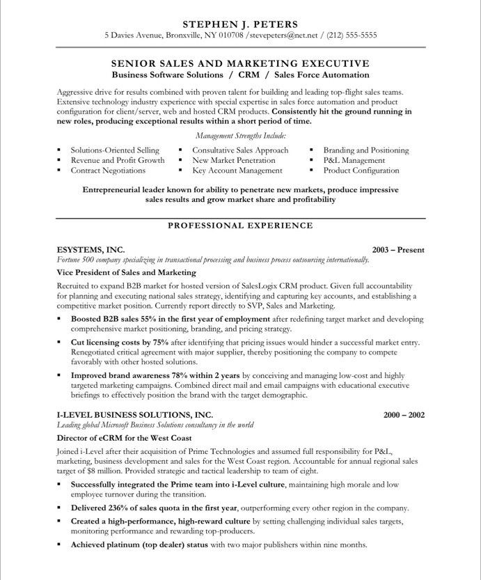 sales executive free resume samples
