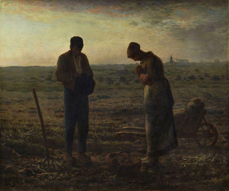 L'angélus (1857) de JF Millet. En plein travail des champs, deux paysans ont posé leurs outils pour se mettre en prière avec simplicité tandis qu'on devine l'angélus sonner au clocher lointain. (celui de l'église Saint-Paul des XIIe et XVe siècles de Chailly-en-Bière, près de Barbizon).