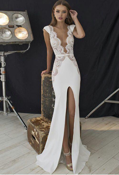 1000 ideas about slit wedding dress on pinterest white for Sexy designer wedding dresses