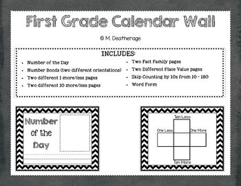 This is a great resource for a calendar or math wall that helps review key common core standards for first grade.