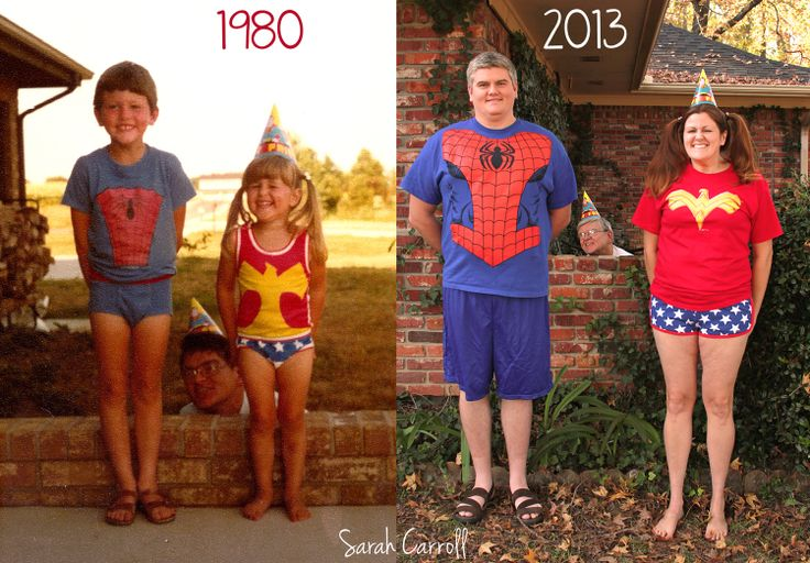 old photo recreation - old picture redo - Wonder Woman & Spiderman underoos - photo reenactment