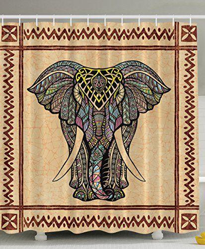 Elephant Shower Curtain Decor Ethnic Tribal Chevron Frame Marble Look Paisley Hippie Hippy Boho Bohemian Celestial Indian Traditional Good Luck Bathroom Textile Polyester Fabric  Brown Beige Gray