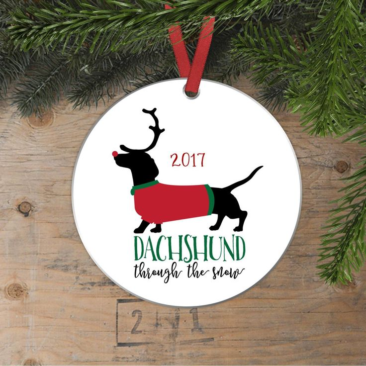 Dachshund Christmas Ornament - Doxie Christmas Gift - Dachshund through the snow 2017 Funny Dog Antlers Ornament #christmasgift