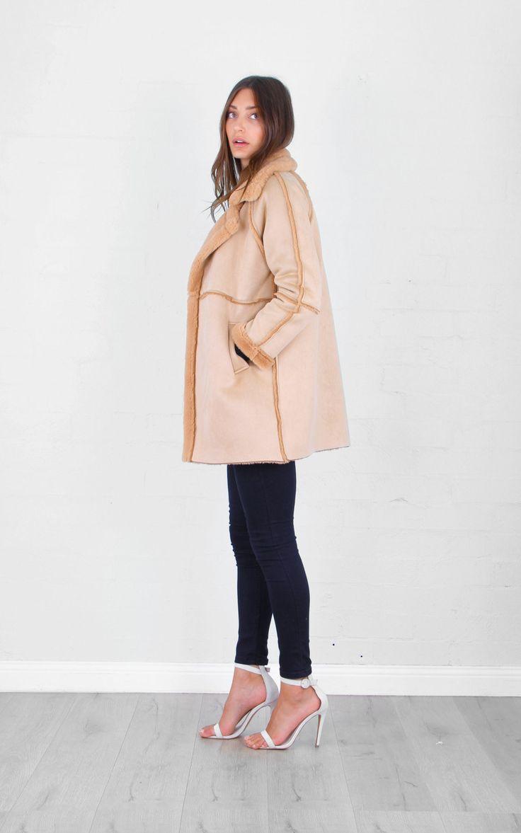 Fast Fashion - T59030 Bear Hug Winter Coat Light Beige & Camel