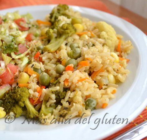 Más allá del gluten...: Arroz Integral con Verduras (Receta GFCFSF, Vegana, Gerson)