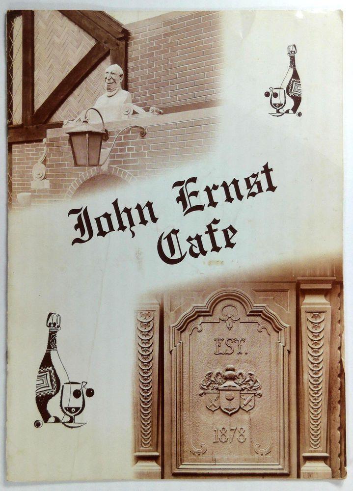 1960 S Original Vintage Menu John Ernst Cafe Restaurant Milwaukee