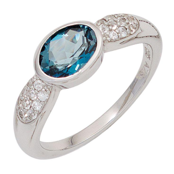 Eleganter Silberring mit einem Topas in Blau und Zirkonias