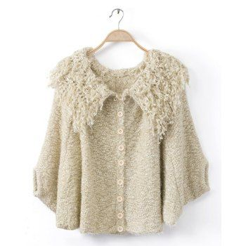 $31.70 Fashionable Turn-Down Collar Fringe Batwing Long Sleeve Coat For Women