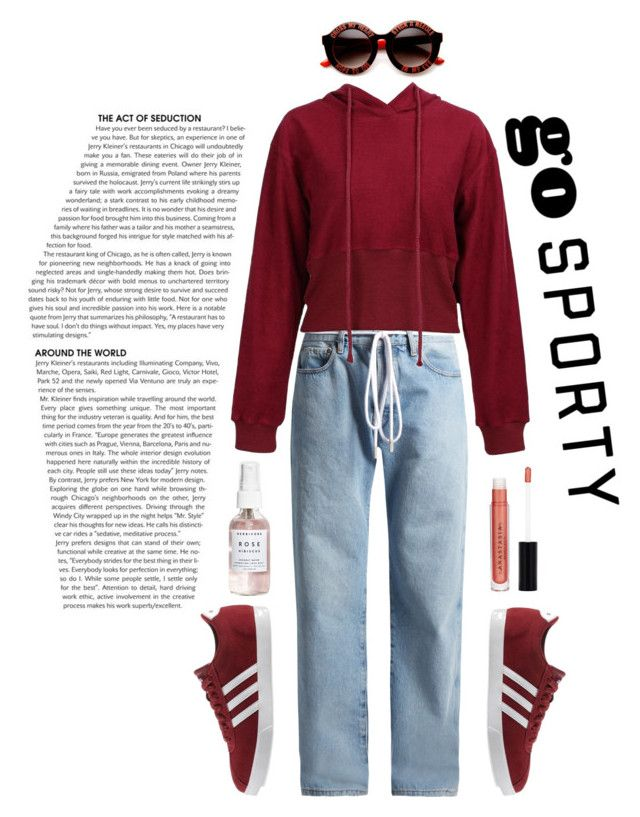 """Red Hot"" by eirenechoo on Polyvore featuring Off-White, adidas, ZeroUV, Anastasia Beverly Hills and Herbivore"