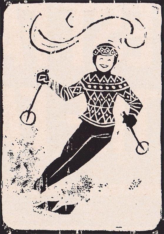 Norway. Norwegian skiing illustration - vintage