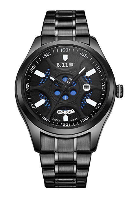 U _ Nique Sport reloj de energía solar, tecnología de Grabado Láser, refinado Pure Correa de Acero Inoxidable