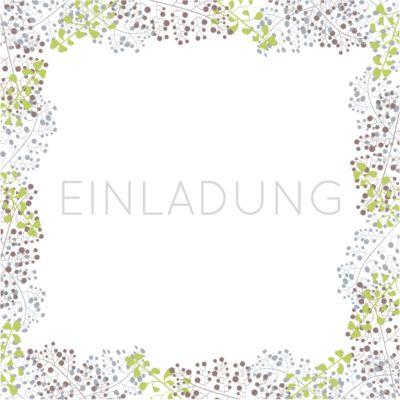 Stilvolle Einladung In Weiß Mit Zartem Rahmen Aus Blüten. Anlässe Geburtstag