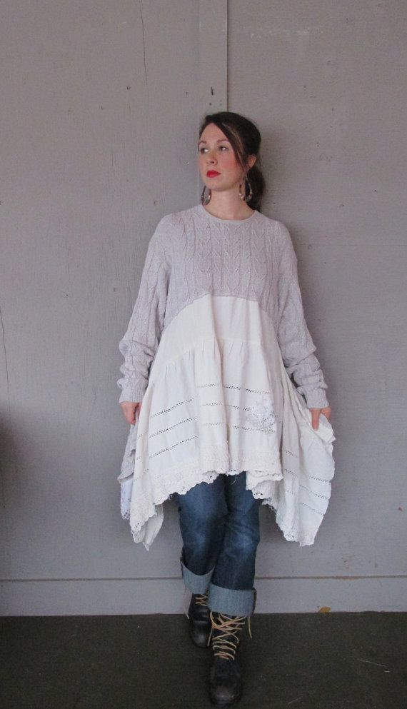 XLarge 1X plus Eco upcycled clothing / Romantic Artsy dress / Tattered Wearable Art dress / Funky Lagenlook Tunic / Boho / LillieNoraDryGoods