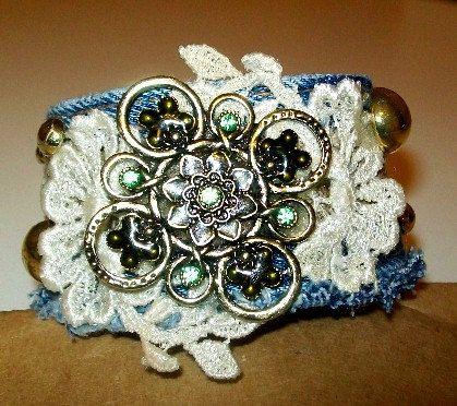 Blue jean denim bracelet
