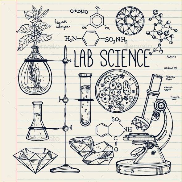 Hand Drawn Science Lab Icons Sketch Set  - Health/Medicine Conceptual