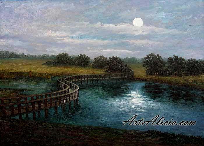 Este es un ejemplo de obra de Vita Flumen. Es un cuadro donde se ve como fluye un río.