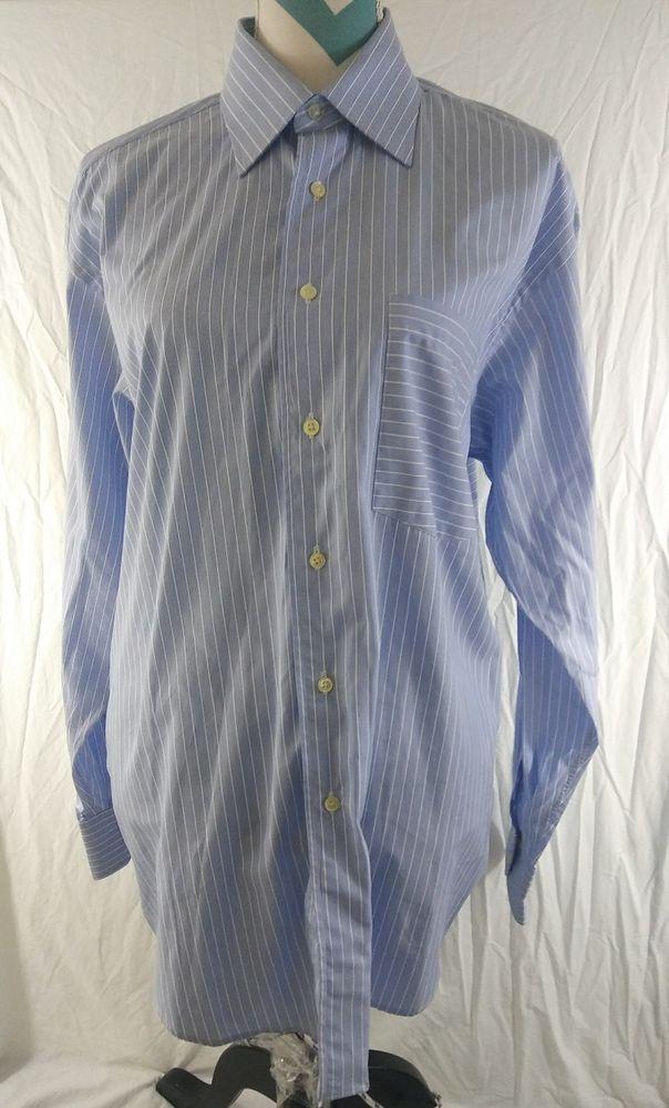 6b14b7ec1 Ted Baker London Size 16 Large Blue White Striped LONG SLEEVE SHIRT   tedbaker  mensfashion  menstyle