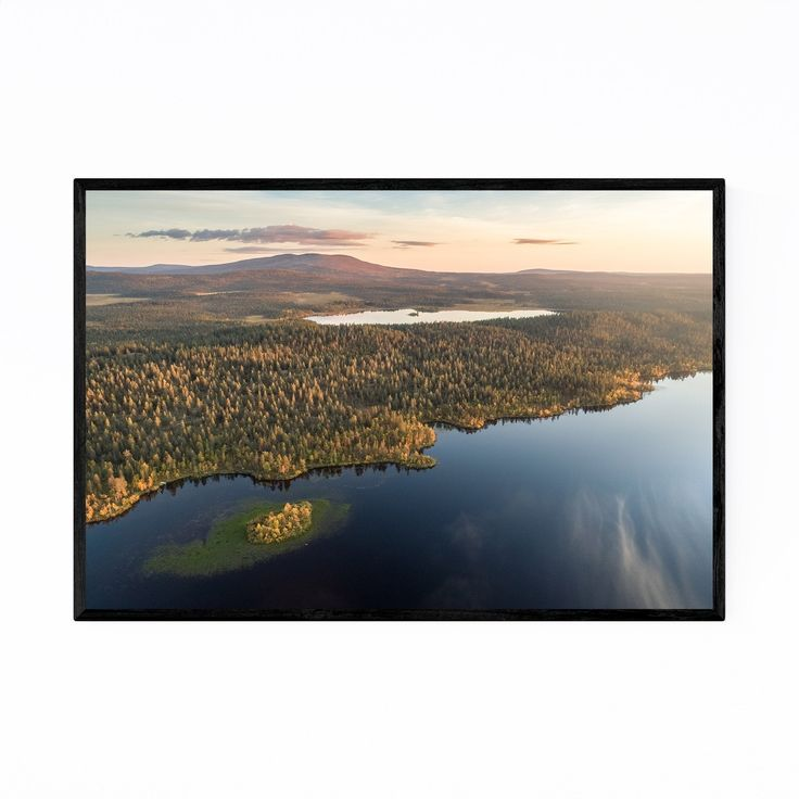 Noir Gallery Autumn Lake Lapland Finland Framed Art Print (White – 24 x 36)
