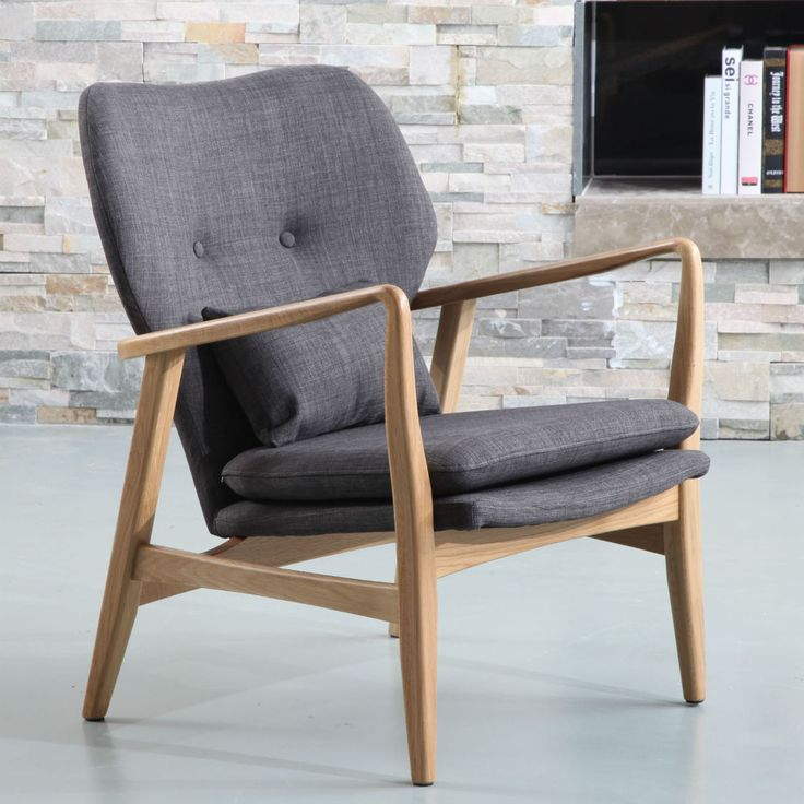 Franz Armchair - Solid Oak - Light Grey Fabric - ICON BY DESIGN