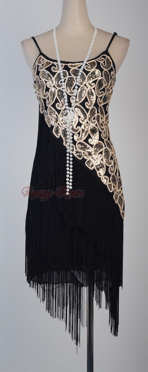 1920's Flapper Party Clubwear Great Gatsby Sequin Tassel Dress. This would be cute to make for Halloween!