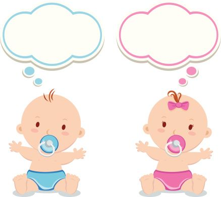 Little baby boy and baby girl - Illustration vectorielle