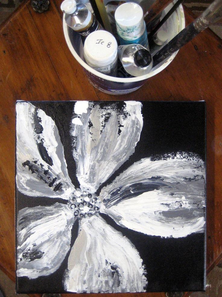 Custom Poppy Painting -Original Black And White Abstract by Devika's art | CustomMade.com