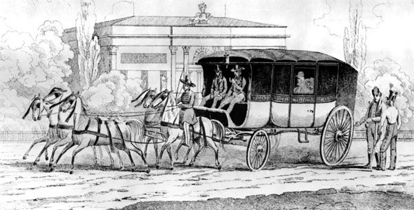 delizsánsz indulása Bécsbe a Népszínház elől (Landerer János, 1837, metszet)