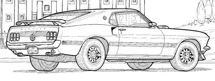 Detailed Line Drawings Muscle Cars
