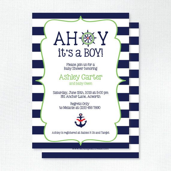 Good Preppy Nautical Baby Shower Invitation   Ahoy Itu0027s A Boy Baby Shower Invites    Printed Invitations