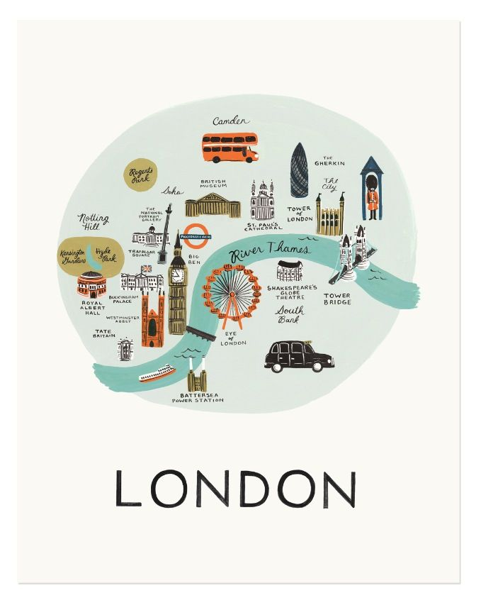 Rifle Paper Co. London Map Art Prints available at Northlight Homestore