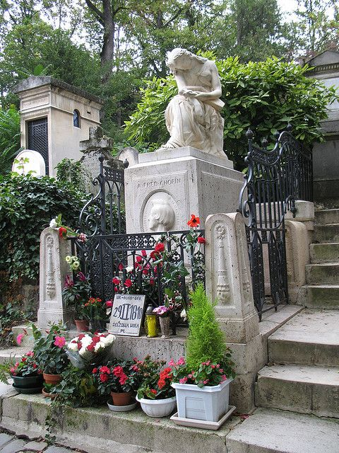 Chopin is buried in Pere Lachaise Cemetiere in Paris. Jim Morrison and many other famous people are buried including Yves Montand, Oscar Wilde, and Maria Callas, to name just a few.