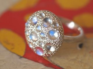 Champignon Ring   Royel blue moonstone,Silver