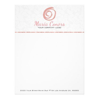 Rose Gold Logo White Damask Letterhead - logo gifts art unique customize personalize