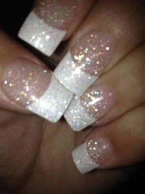 pink and white acrylic nails with glitter   Acrylics...white tips ...