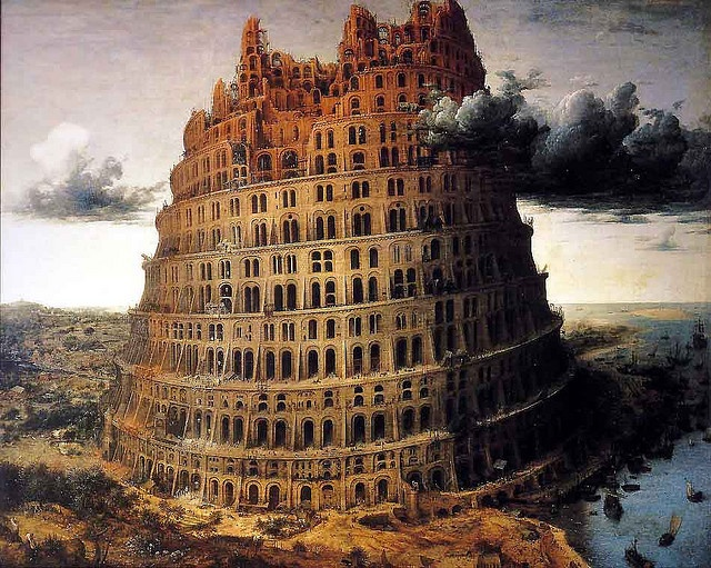 Livre 2, chapitre 16, page 219 : Babel et ses diverses langues (oeuvre de…