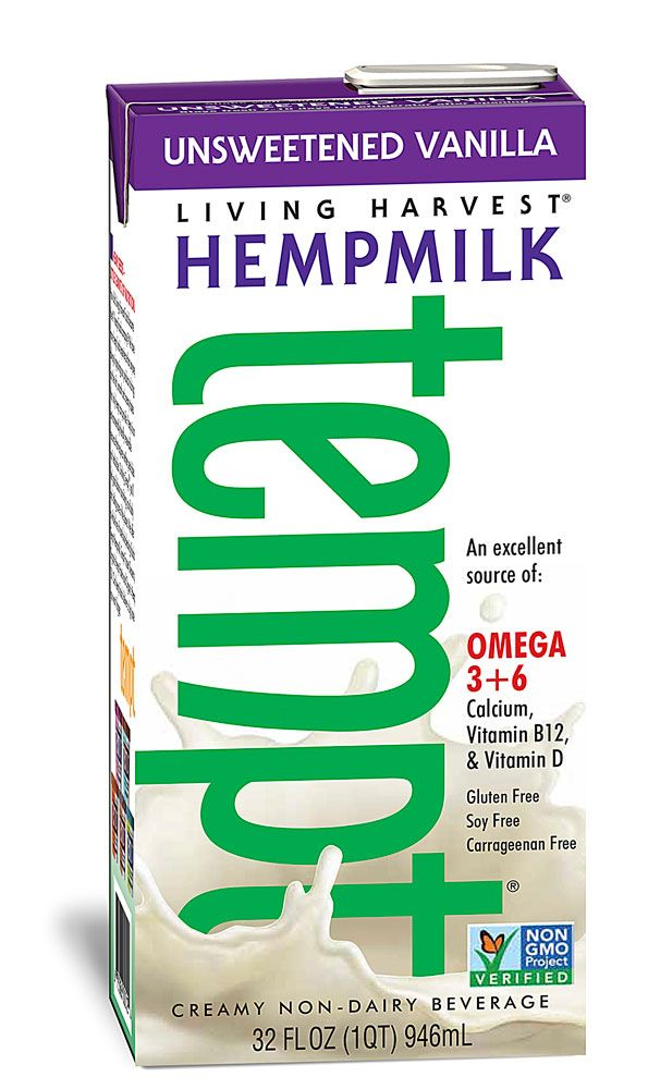 deliciously good. I need. omegas 3 and 6 GLA Living Harvest Tempt™ Hempmilk Unsweetened Creamy Non-Dairy Beverage Vanilla