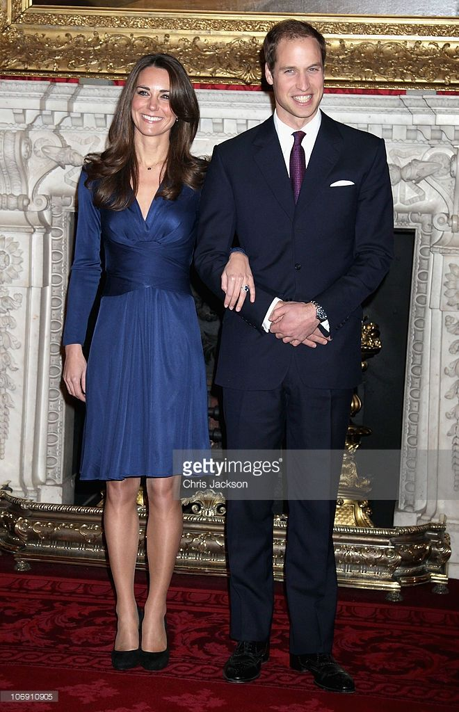 Prince William and Kate Middleton pose for photographs in the State Apartments of St James Palace on November 16, 2010 in London, England. After much speculation, Clarence House today announced the engagement of Prince William to Kate Middleton. The couple will get married in either the Spring or Summer of next year and continue to live in North Wales while Prince William works as an air sea rescue pilot for the RAF. The couple became engaged during a recent holiday in Kenya having been…
