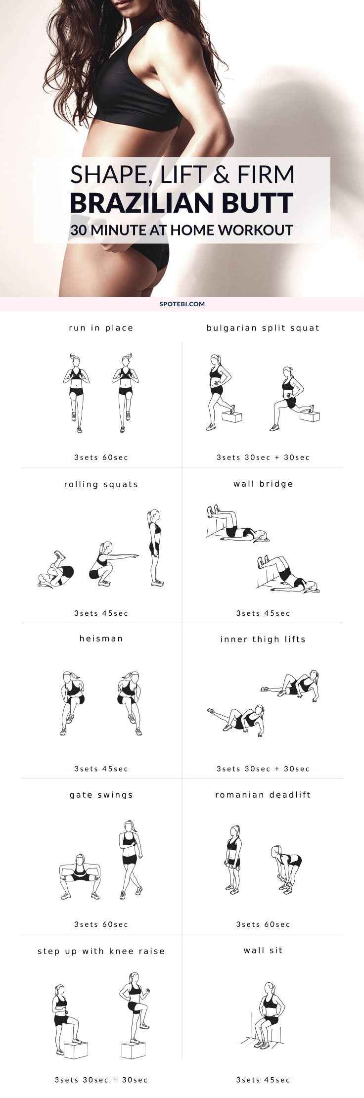 Want to know the secret to a perfect booty? Try this 30 minute sculpting and lifting Brazilian butt workout. Shape and firm your glutes and thighs fast! https://www.spotebi.com/workout-routines/shape-lift-firm-brazilian-butt-workout/