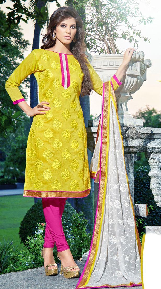 Traditional Yellow Embroidered Salwar Kameez