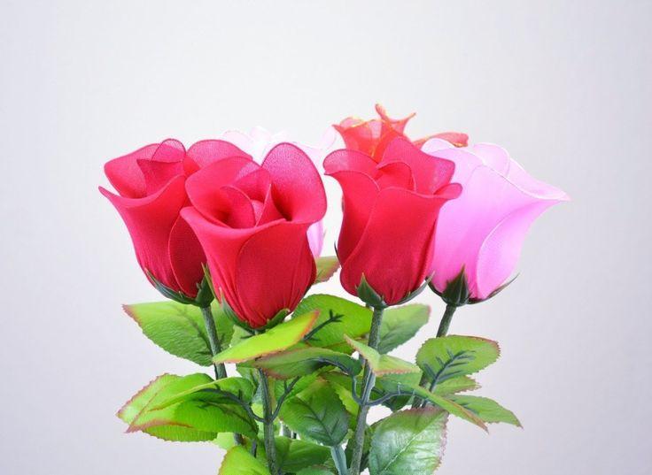 Làm hoa hồng bằng vải voan theo phong cách mới (HD) - vietflower.info