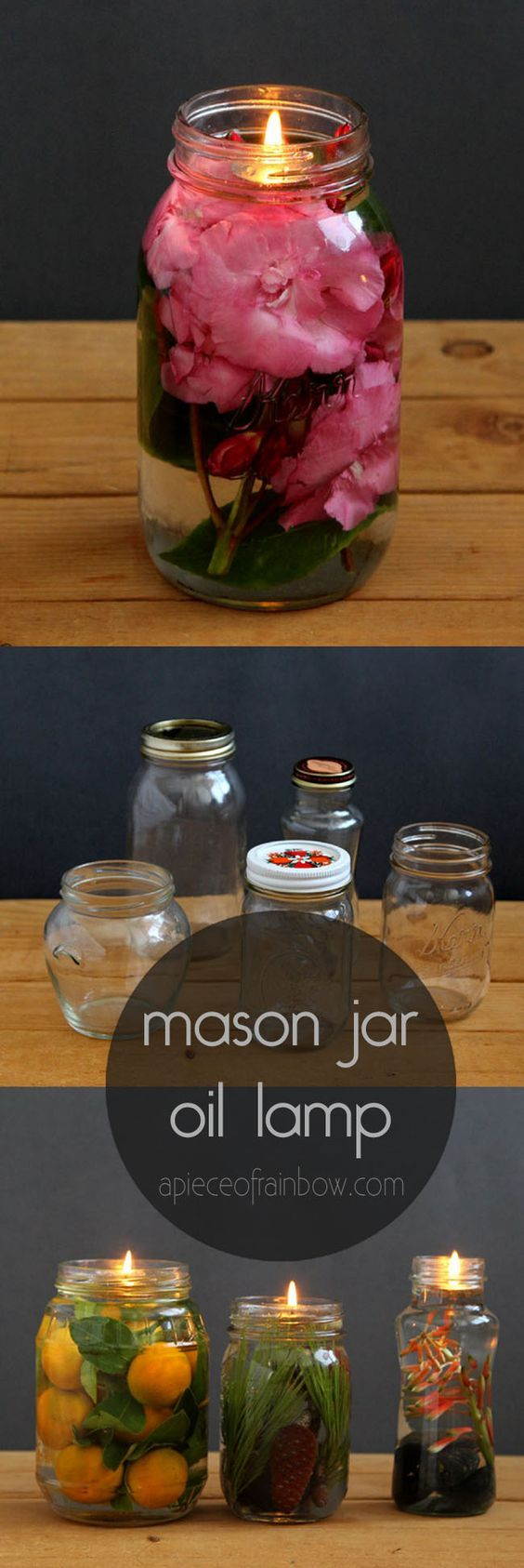 Make gorgeous oil lamp from mason jars and glass bottles. Safer than candles, it takes only 2 minutes to make using vegetable oils and water! via @apieceofrainbow