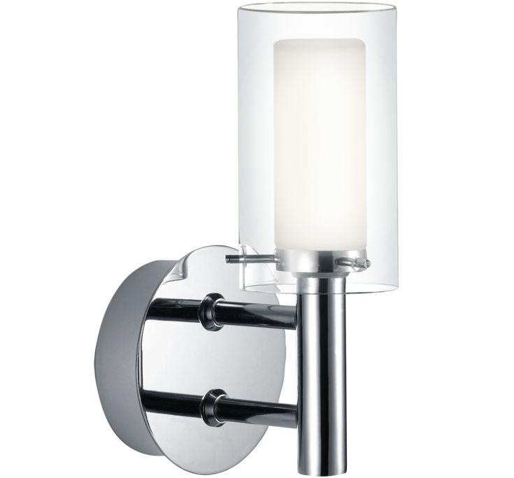 Enkel och stilren badrumslampa i krom och glas. Ger ett bra ljus och är ett bra komplement till takbelysning. Ljuskälla ingår ej.