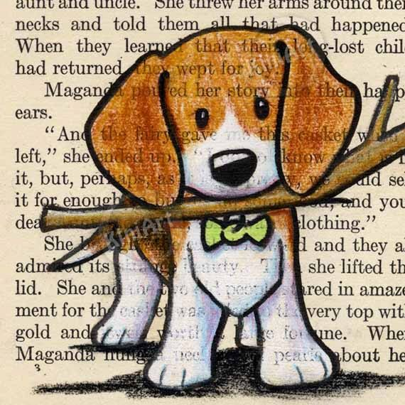 © KiniArt™ - ALL Rights Reserved. Original Art Beagle Dog on Vintage Book Page by KiniArt on Etsy, $50.00
