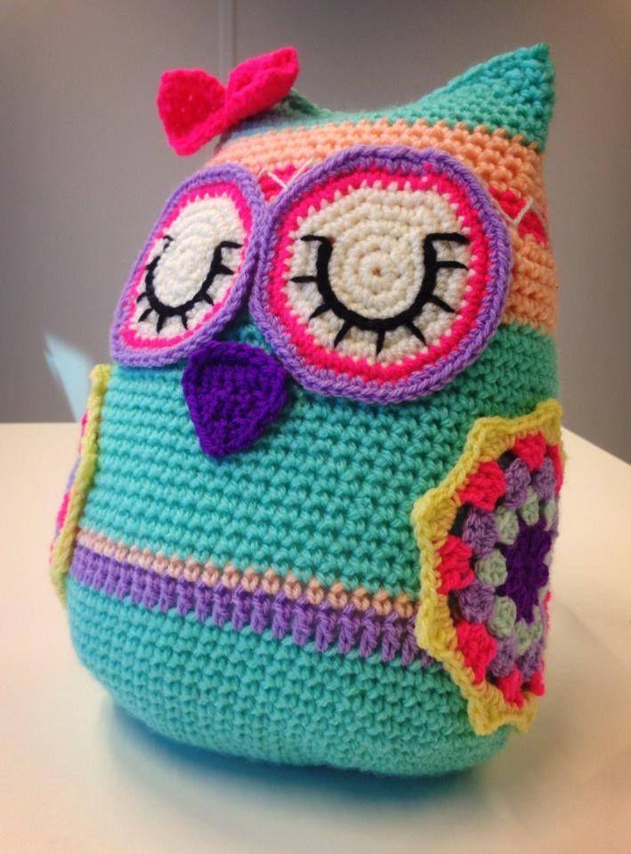 Crochet Owl Cushion - 30cm x 20cm, handmade :)!