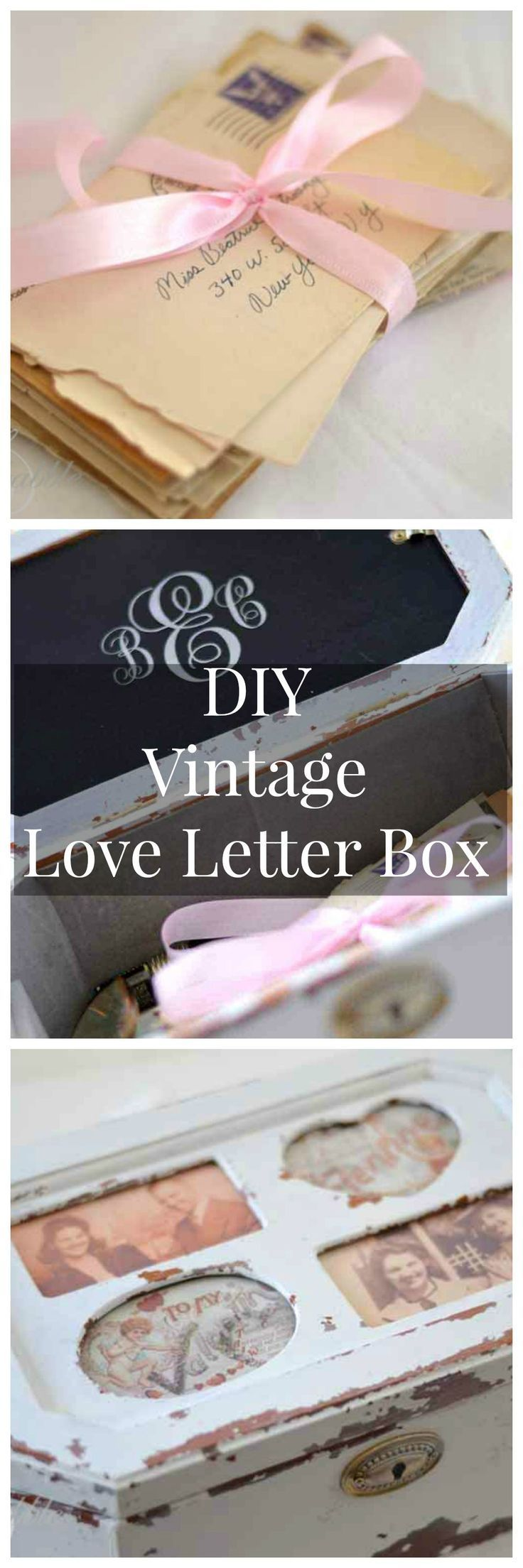 DIY Vintage Love Letter Box made from an old jewelry box.