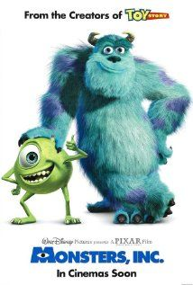 Monsters, Inc. (2001) - Monsters generate their city's power by scaring children, but they are terribly afraid themselves of being contaminated by children, so when one enters Monstropolis, top scarer Sulley finds his world disrupted.  Directors: Pete Docter, David Silverman, Writers: Pete Docter (original story by), Jill Culton (original story by),  Stars: Billy Crystal, John Goodman, Mary Gibbs