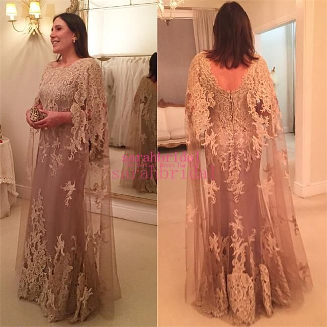 2015 Long Sleeves Arabic Mother of The Bride Groom Dresses with Cloak Style Sheath Lace Plus Size Personalized Wedding Guest Party Gowns Online with $135.1/Piece on Sarahbridal's Store | DHgate.com